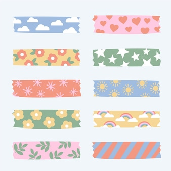 Drawn cute washi tapes collection