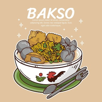 Drawn delicious bakso in a bowl