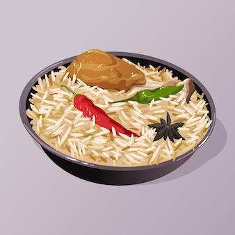 Biryani di pollo delizioso disegnato nella ciotola