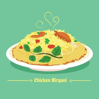 おいしいチキンビリヤニをお皿にのせて描いた