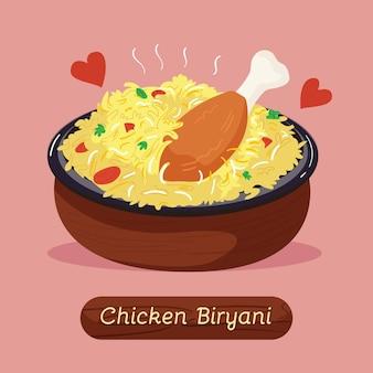 Biryani di pollo delizioso disegnato