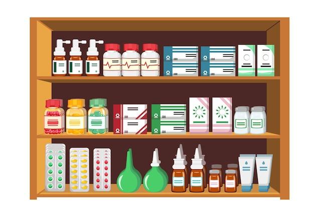 약국에서 약이 있는 진열장의 그려진된 디자인
