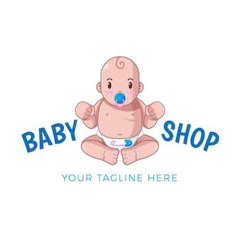 描かれた詳細な赤ちゃんのロゴのテンプレート