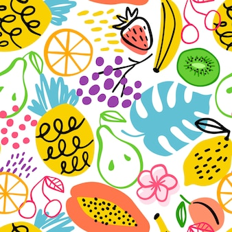 Drawn different fruits pattern