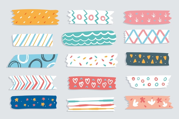 Drawn different washi tapes set