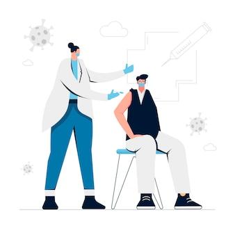 Medico disegnato che inietta il vaccino a un paziente