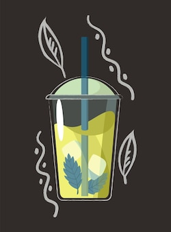 Drawn drink. summer fruit smoothie drink with fruit flavor. alcohol cocktail with a straw. doodle smoothie in a jar