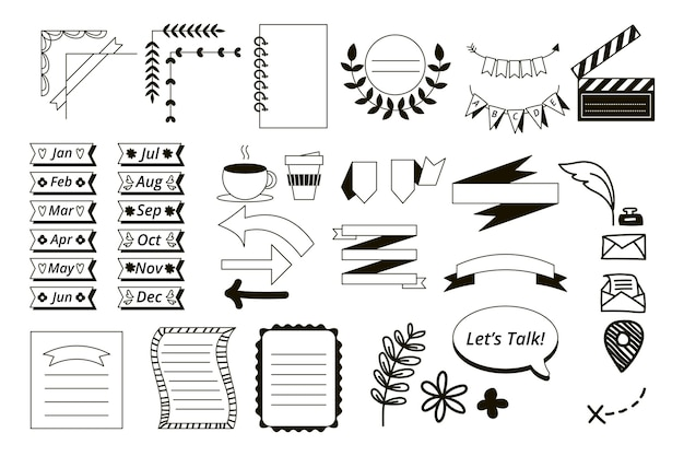Drawn elements for bullet journals pack