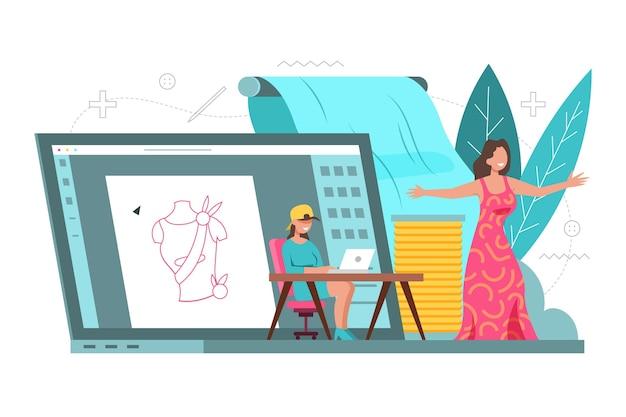 Drawn fashion designer concept
