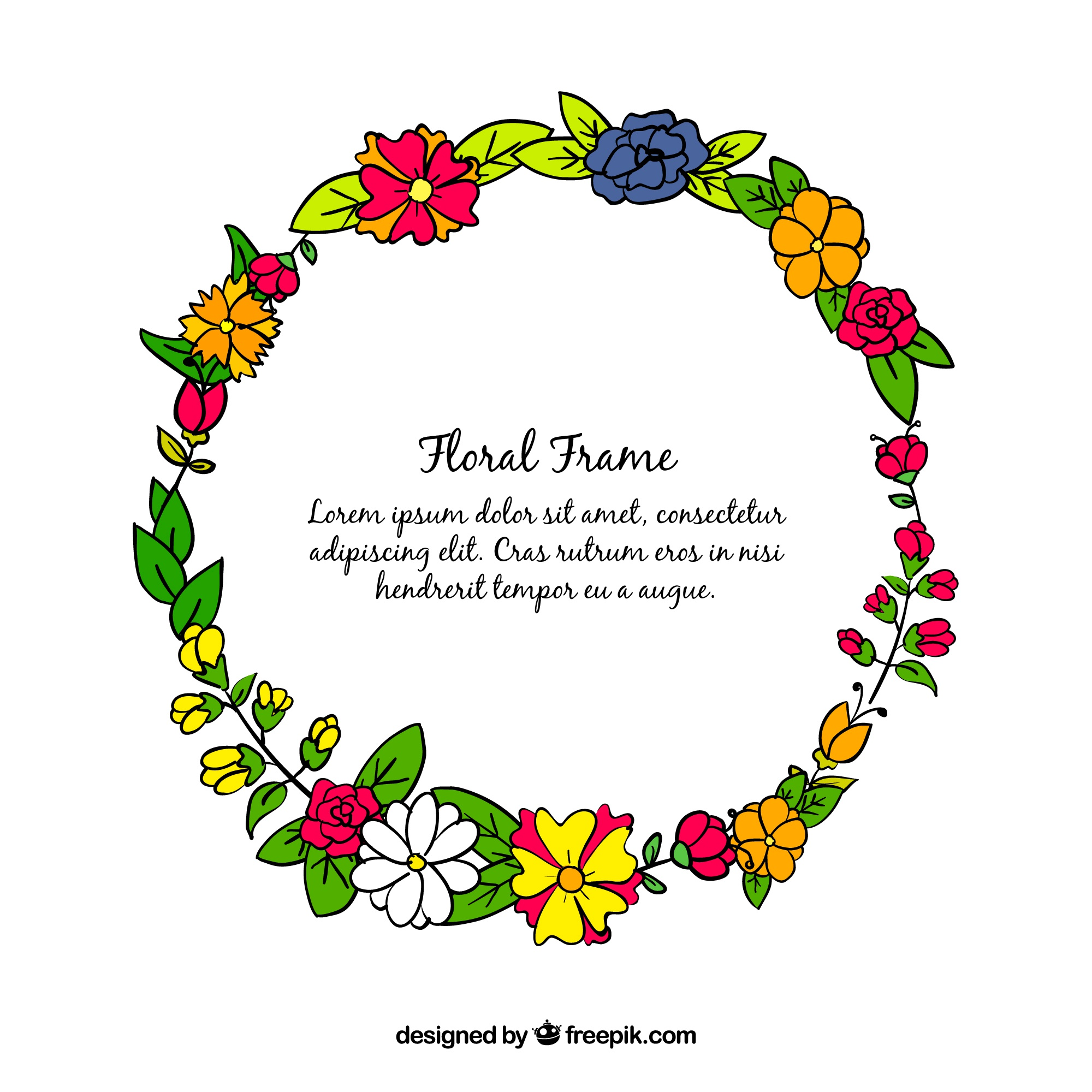 Drawn floral frame, circular shape