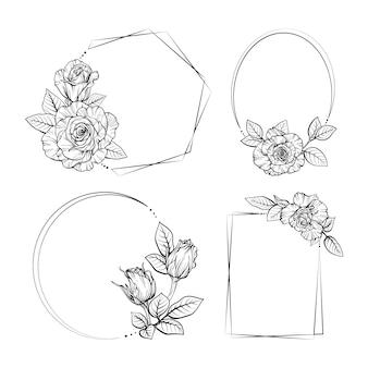 描かれた花のフレームコレクション