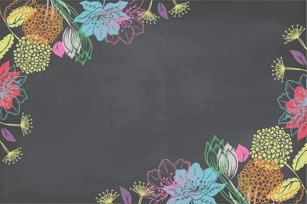 Drawn flowers on blackboard wallpaper
