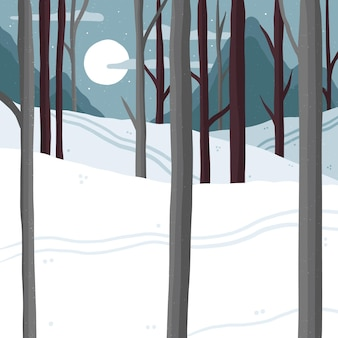 Drawn forest in winter time