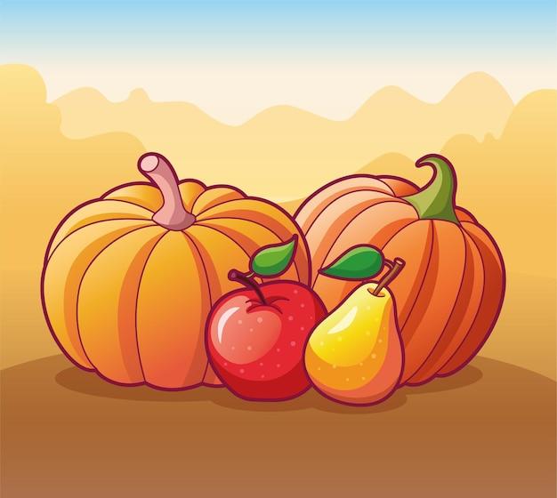 Нарисованные фрукты и овощи композиция, изолированные на осеннем фоне векторные иллюстрации