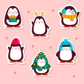Drawn funny sticker collection with penguins