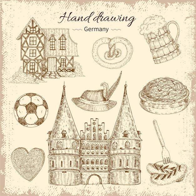 Drawn germany illustration set