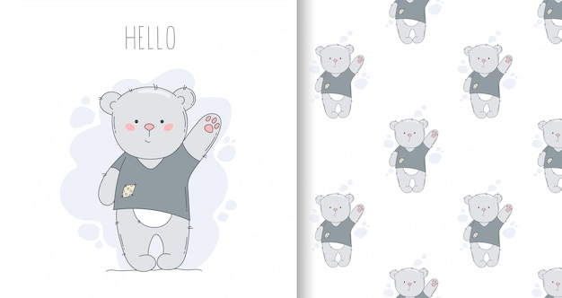 Рисованные открытки и бесшовные модели с медведем и словом привет.