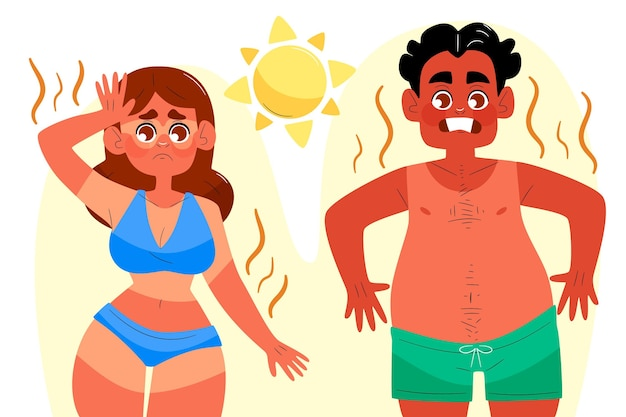 Drawn group of different people with a sunburn