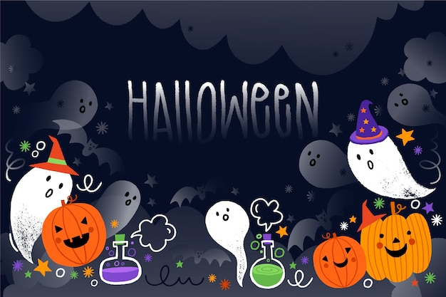 Drawn halloween background with ghosts