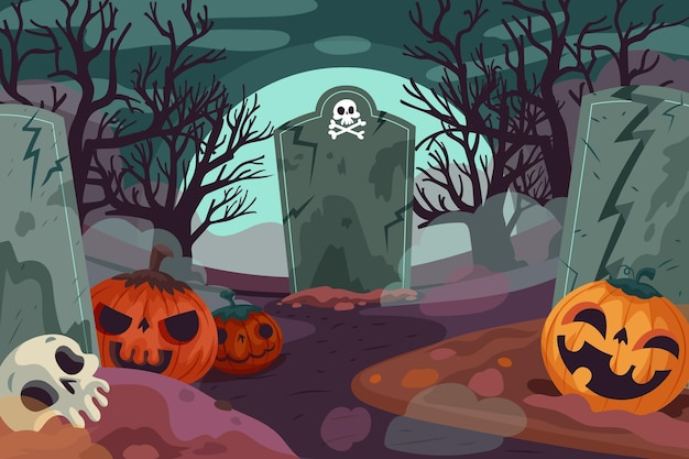 Drawn halloween background with scary cemetery