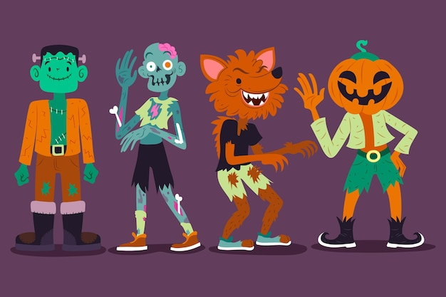 Drawn halloween character set