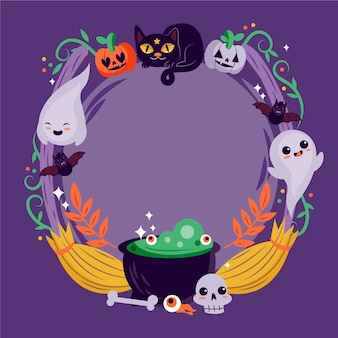 Drawn halloween frame with cats and ghosts