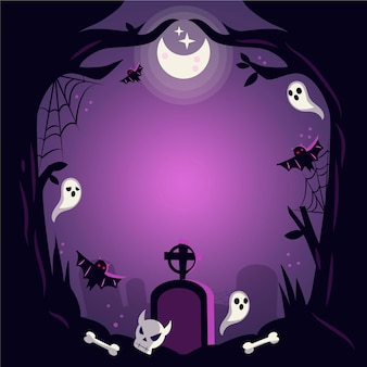 Нарисованная рамка хэллоуина с кладбищем