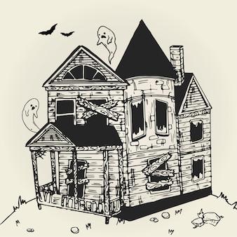 Drawn halloween house