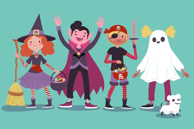 Drawn halloween kids collection