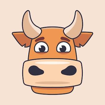 フラットスタイルでかわいい牛の描かれた頭。キャラクターイラスト。