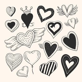 Drawn heart collection design