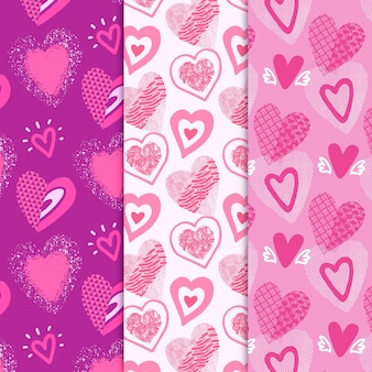 Drawn heart pattern collection
