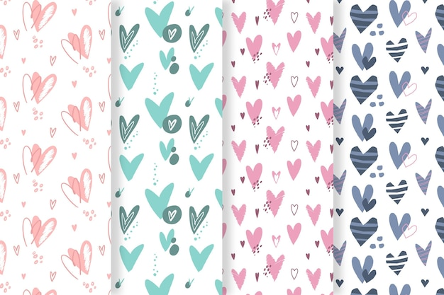 Drawn heart pattern pack