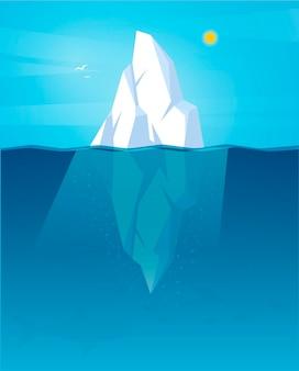 日光の下で描かれた氷山