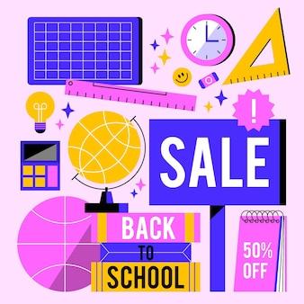 Illustrazione disegnata per tornare alle vendite scolastiche