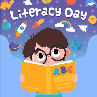 Нарисованная иллюстрация чтения мальчика