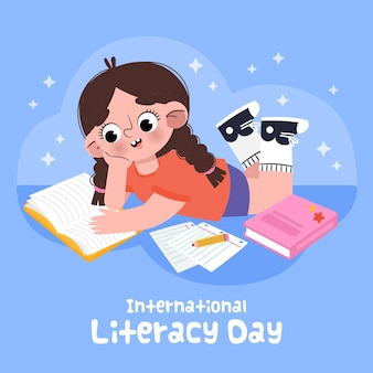 소녀 독서의 그려진 된 그림
