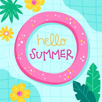 Drawn illustration with hello summer lettering