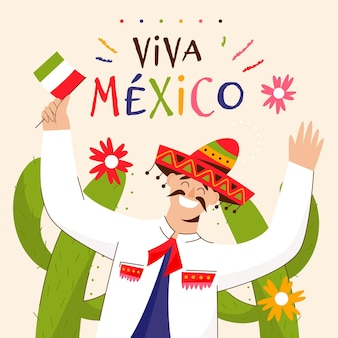 Drawn illustrator with man celebrating independence day of mexico