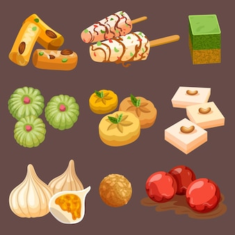 Drawn indian sweets collection