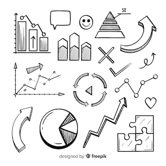 Collezione di elementi infographic disegnati