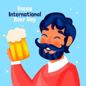 Нарисованная иллюстрация международного дня пива