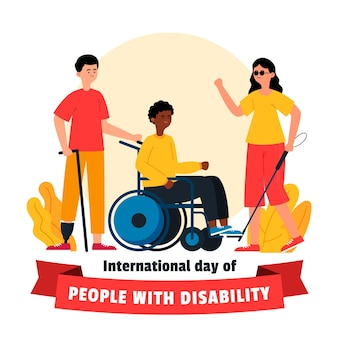Drawn international day of people with disability event illustrated