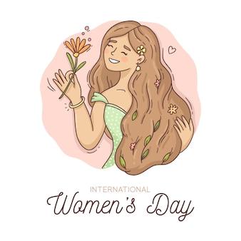 Нарисованная иллюстрация международного женского дня