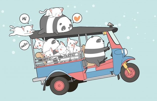 Drawn kawaii cats and panda on motor tricycle
