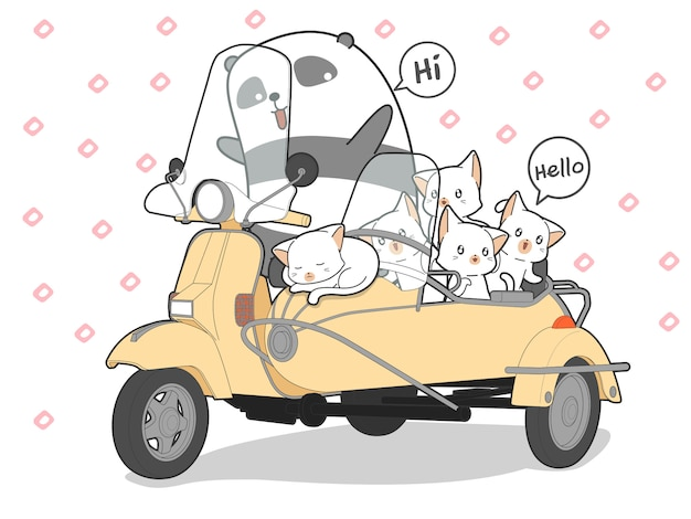 Drawn kawaii cats and panda with motorcycle.