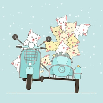 Drawn kawaii rider cat and friends with motorcycle.