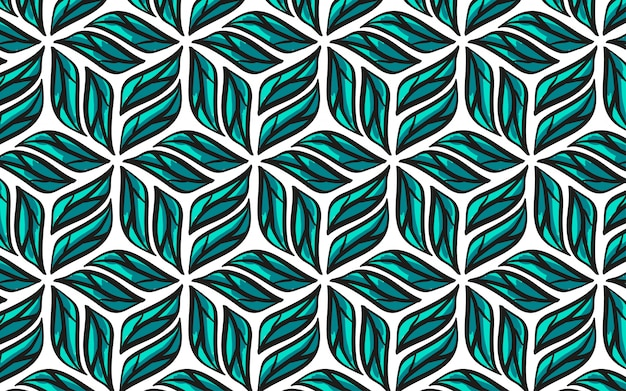Drawn leaves geometric seamless pattern.