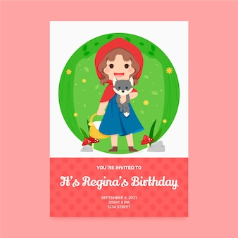 그려진 작은 빨간 승마 후드 생일 초대장