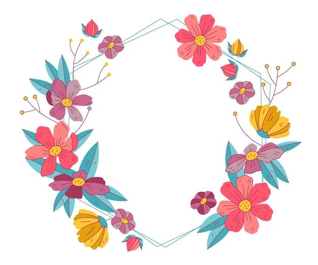 描かれた素敵な春の花のフレーム